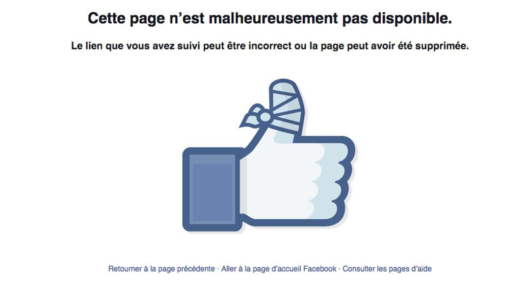 design émotionnel page erreur 404 facebook