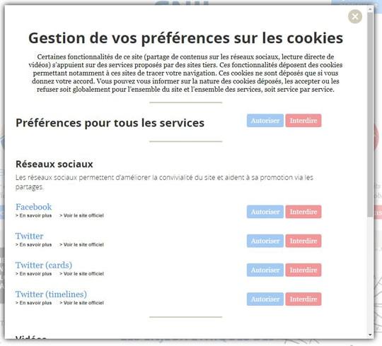 Les gestions des données personnelles sur le site de la CNIL.