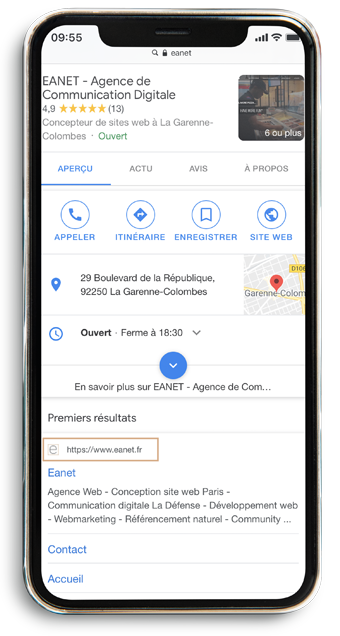 Affichage serp mobile favicon rich snippets Google